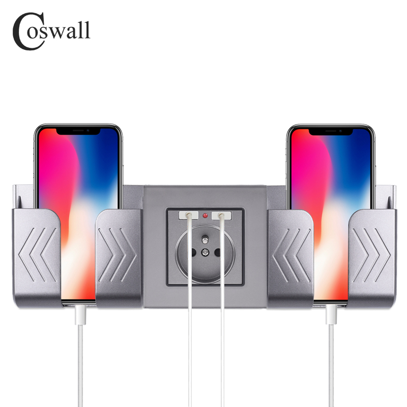 COSWALL Dual USB Charging Port 16A Wall French Poland Socket Power Outlet Glass Panel PC Panel Matte Grey Color