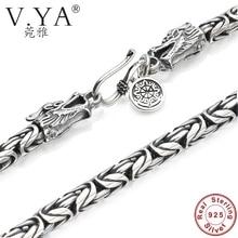 V. Я S925 мужские цепи ожерелье стерлингового серебра 925 Мужская Дракон застежка Тяжелая толстые цепи ожерелье ручной работы Тайский серебряные ювелирные изделия