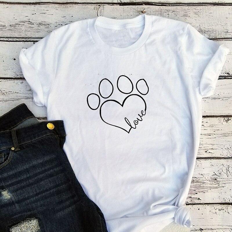 Hund Fuß Druck Liebe T-shirt Nette Frauen Plus Größe Sommer Shirts Hunde Liebhaber Geschenk Graphic Tees