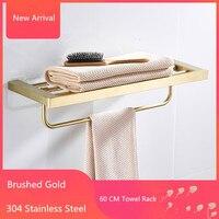 60 CM Folding Bathroom Towel Rack Brushed Gold 304 Stainless Steel Foldable Fixed Bath Towel Holder Bath Shelves Towel Rail