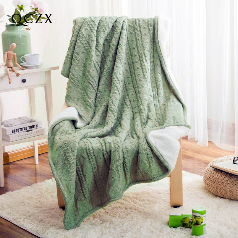 QCZX 100%Cotton Knitted Blanket European style retro velvet knitted casual blanket Autumn and winter sofa travel blanket D50 big size nordic navy blue gray mixed sofa cover blanket 130 170cm simple style wearable blanket sofa towel car blanket