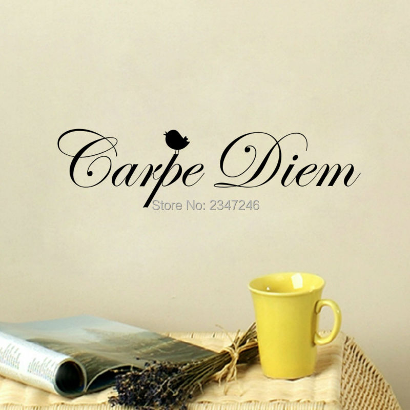 DIY Carpe Diem Vinyl Wall Sticker Latin Quotes Seize The Day Art Mural Decal for Living Room Bedroom Decoration
