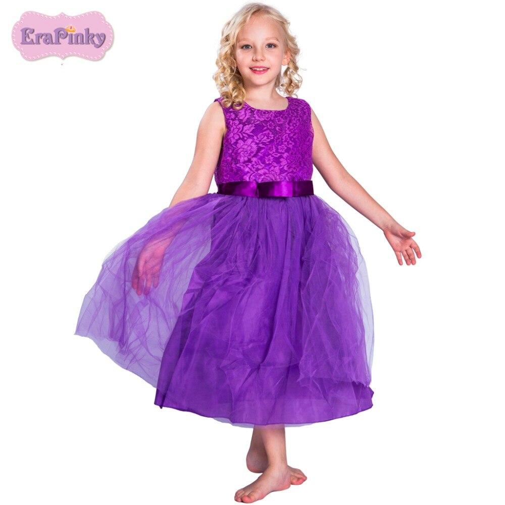 Erapinky Floral Girl Dress Summer Children Clothing Sleeveless A line Kids Dress For Birthday Wedding Purple Lace Princess Dress