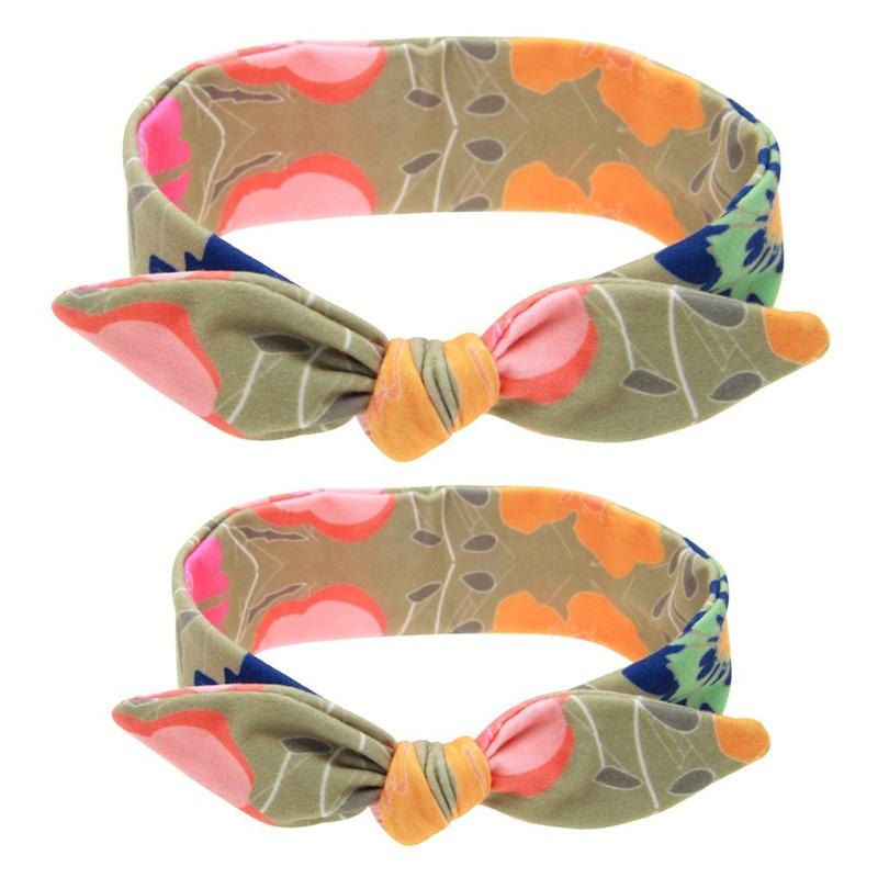 Heißer Verkauf Baby Und Mama Eltern-kind-elastische Bowknot Plaid Tupfen Blumen Stirnbänder Suite Haar Hoops Haarband Headwear 9906