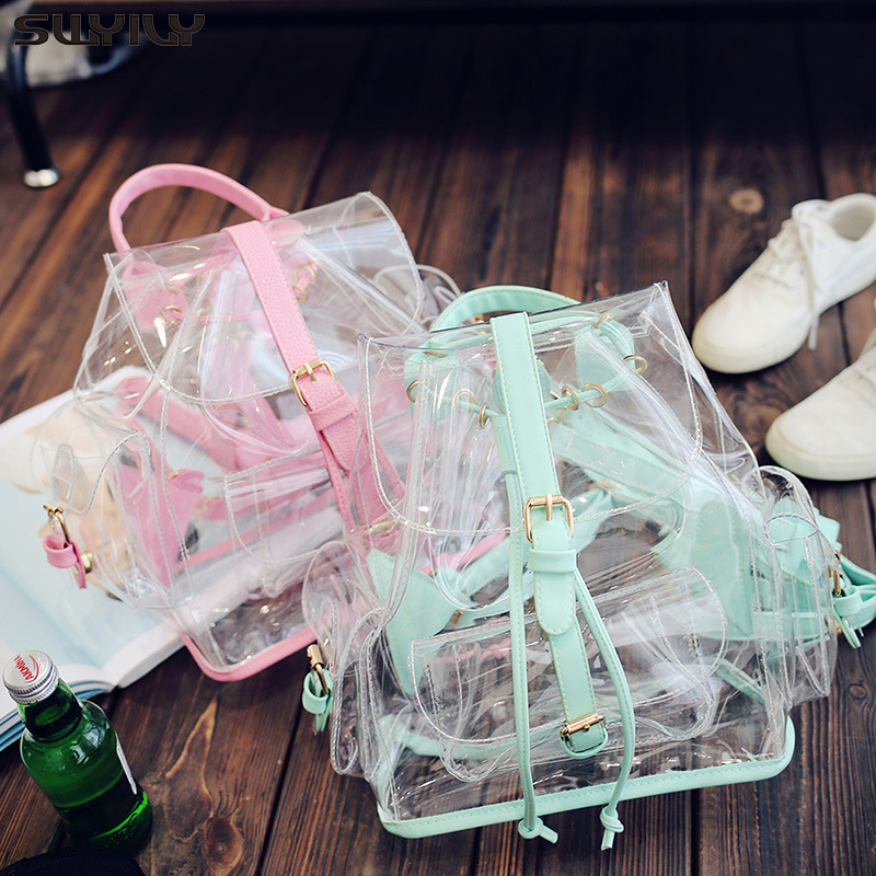 SWYIVY Lady Fashion Backpack PVC Transparent Shoulder Bag Summer 2019 New Women Plastic Jelly Backpack Travel Pink Bag For Girl