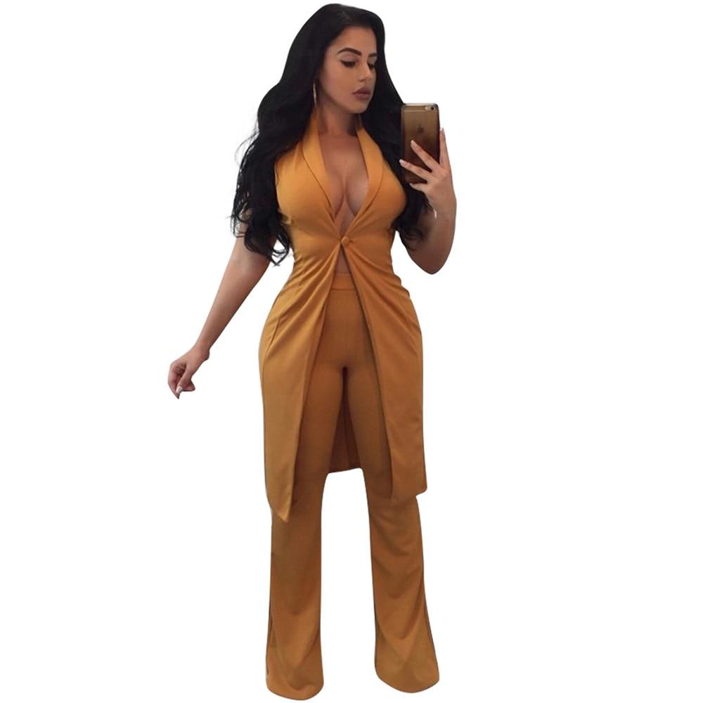 82d392272f28 Elegant Ladies Office Jumpsuit Two Piece Set Sleeveless Deep V Neck Long  Pants Wide Leg Jumpsuit
