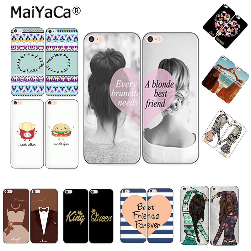MaiYaCa Best Friends BFF dos chicas Pareja mutuamente carcasa del teléfono king queen Para iPhone 5s 6s 7 8plus x xs max xr 11pro max funda