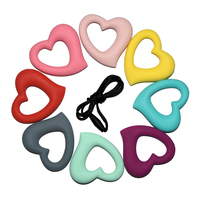 Happyfriends 10pcs/lot Fast Shipping Cute Cartoon Heart Shape Soft Silicon Pendant Silicone Baby Teether
