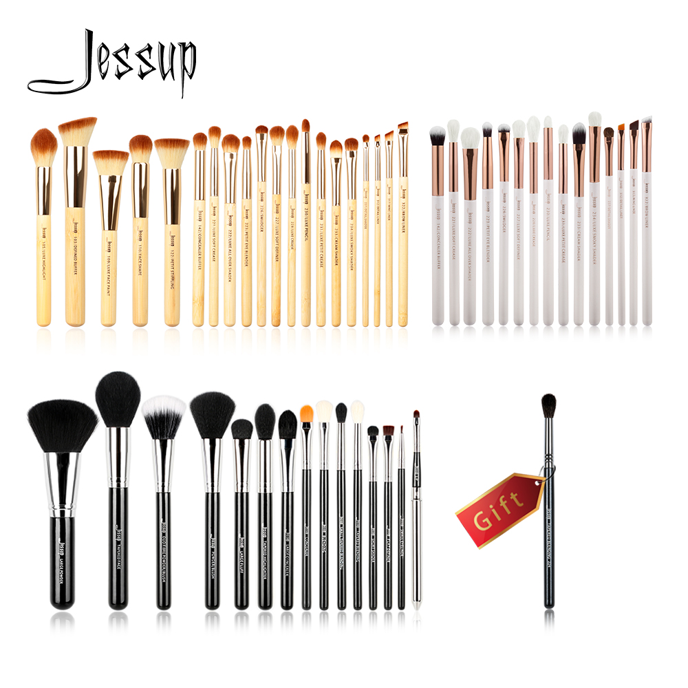 Jessup Buy 3 get 1 gift Makeup Brushes set Beauty tools Cosmetic Make up brush Bamboo Wood handle Eye Liner Powder Foundation lke makeup tools buy 3 handsel 1 gift 21color eyeshadow palette & makeup brush set & eyebrow eye & eyeliner stencil gift