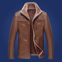 2017 Hot Sale Winter Thick Leather Garment Casual Flocking Leather Jacket Men's Clothing Leather Jacket Men Veste Cuir Homme
