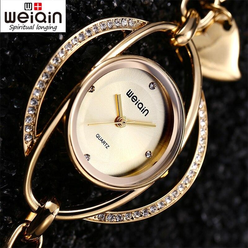 WEIQIN Luxury Crystal Gold Watches Women Fashion Casual Dress Women Bracelet Quartz Watch Female Clock Reloj