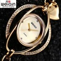 Weiqin lüks kristal altın saatler kadınlar moda rahat elbise kadınlar bilezik kuvars İzle kadın saat reloj mujer montre femme