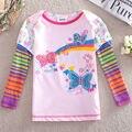 Puede elegir el tamaño del verano del bebé camiseta para la muchacha de manga larga camiseta nova marca niños infantil roupa ropa nueva moda F3353