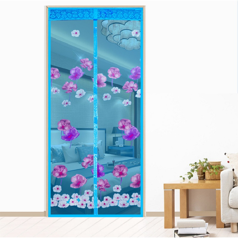 High-grade Summer Magnetic Anti Mosquito Curtain Net Soft Door Insect Magic Sheer Mesh Screen On The Door Snow Lotus Curtains