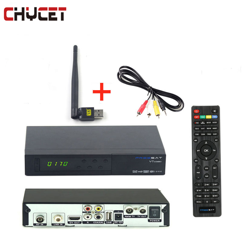 Freesat V7 combo DVB-S2/DVB-T2 Digital Satellite Receiver with USB WIFI  3G 1080P Full  HD TV Tuner wholesale freesat v7 hd dvb s2 receptor satellite decoder v8 usb wifi hd 1080p support biss key powervu satellite receiver