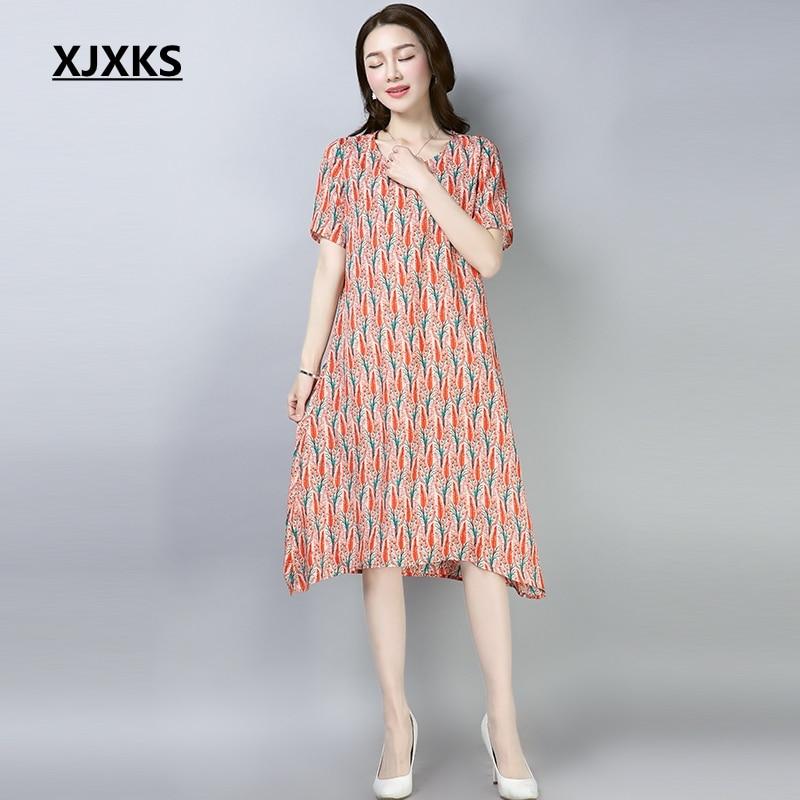d49ec8e1ea91 Aliexpress.com   Buy XJXKS Large Size Chiffon Dress Female New 2018 Summer  Dress Women Red And Orange Short Sleeve Vestidos Floral Dresses from  Reliable ...