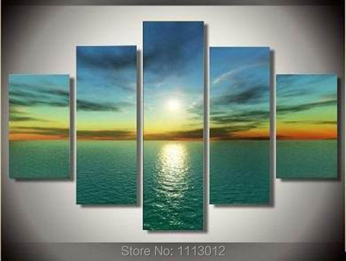 High Quality Hot Sale Sunset Landscape Oil Painting On Canvas 5 Pcs Set Home Wall Art Decoration Modern Picture For Living Room
