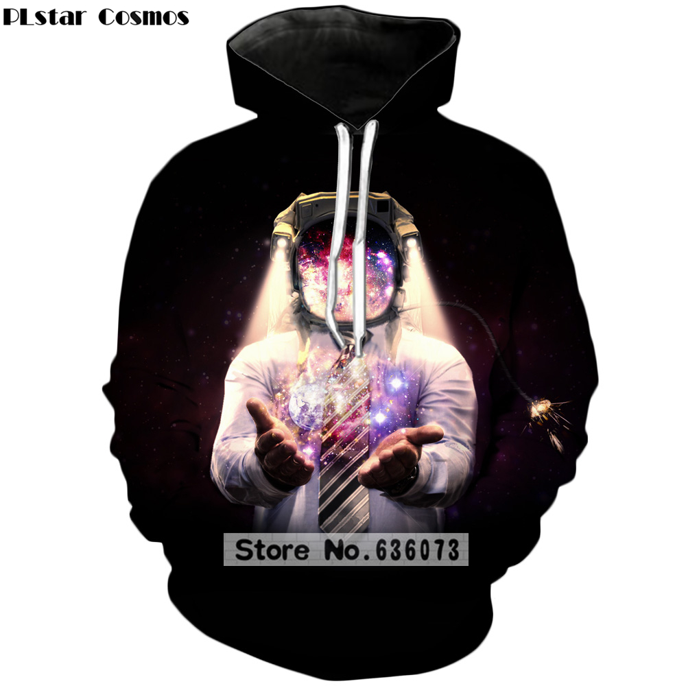 PLstar Cosmos Brand clothing 2018 The New Fashion Hoodies Original design Funny Astronaut 3d Print Hooded Sweatshirts ZH-121
