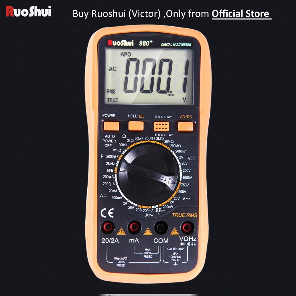 980+ Victor RuoShui True RMS Digital Multimeter 20000 Counts Manual Range Voltage Current Resistance Capacitance Conductance