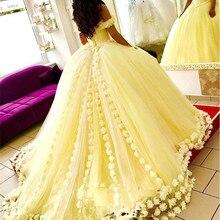 Желтое бальное платье Бальные платья 3D цветочные цветы с открытыми плечами 16 размера плюс принцесса тюль маскарадные платья для выпускного вечера