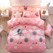 Pink Maple Leaf Duvet Cover Bedding Sets Single Twin Full Queen King Size 3/4Pcs Bedding Set Girls Bedcover Bed Sheet Pillowcase(China)