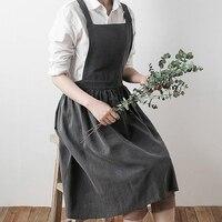 Кухонный Фартук для приготовления пищи, простой промытый фартук для женщин, мужчин, шеф-повара, хлопковая форма, фартуки для приготовления е...