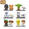 LOZ Bloques de Construcción de Figuras de Star Wars R2D2 C3PO Stormtrooper Yoda Jedi Luke Skywalker Darth Vader Leia Organa Wicket Boba Fett