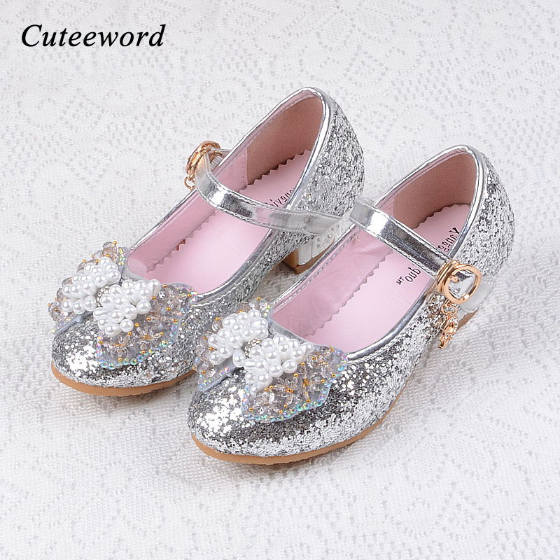 Fashion Kids Dance Girls Shoes Pink Childrens High Heels Leather Cute bowtie Cartoon crystal Princess Shoes Sequins party shoes