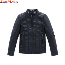 Boys Coat 2018 New PU Leather Black Thick Kids Casual Jacket Boys