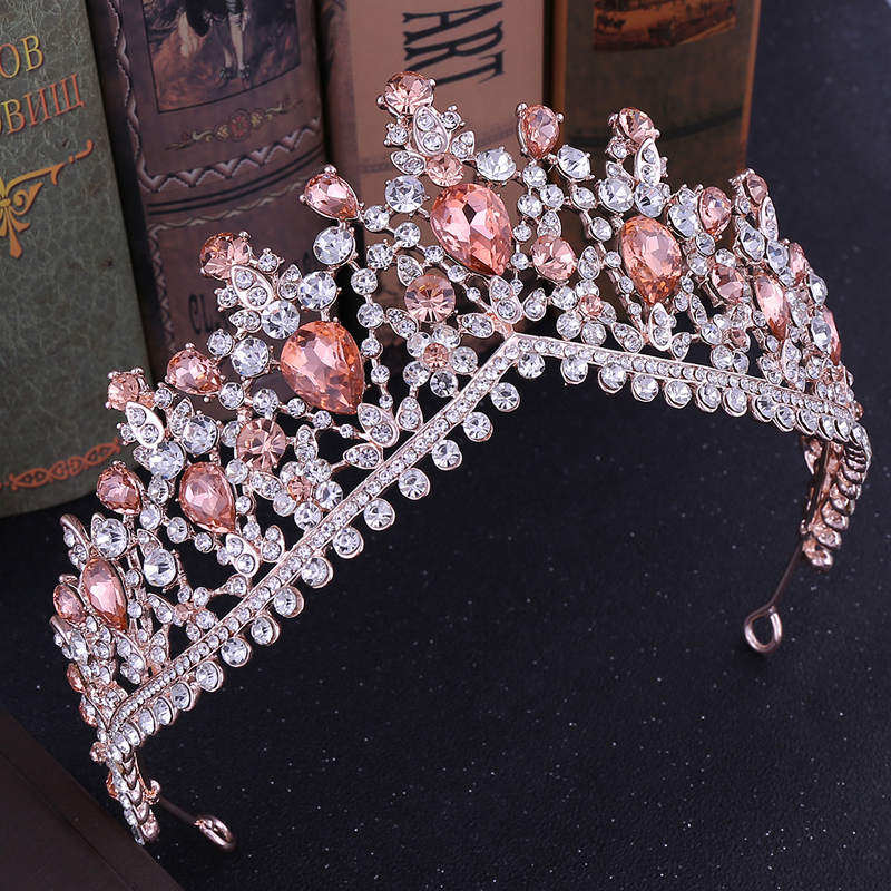 Wedding Women Pink Rhinestone Hair Jewelry Tiara Crystal Diadems Fashion Crwon