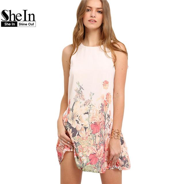 Shein nuevas señoras de la llegada multicolor estampado de flores sin mangas boho vestidos de verano de las mujeres de cuello redondo cortado lindo shift dress