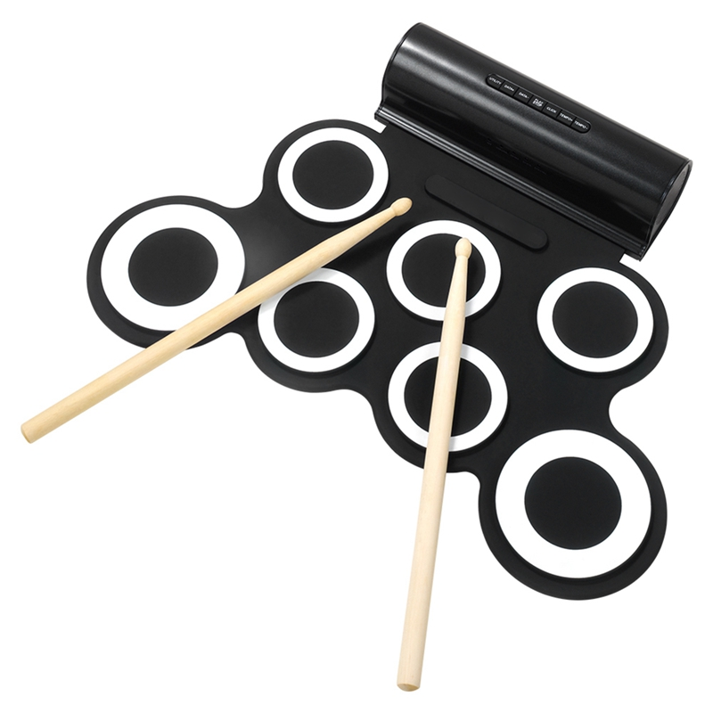 Black plug-in electronic drum Silicone electronic components drum Volume adjustable drum percussionBlack plug-in electronic drum Silicone electronic components drum Volume adjustable drum percussion