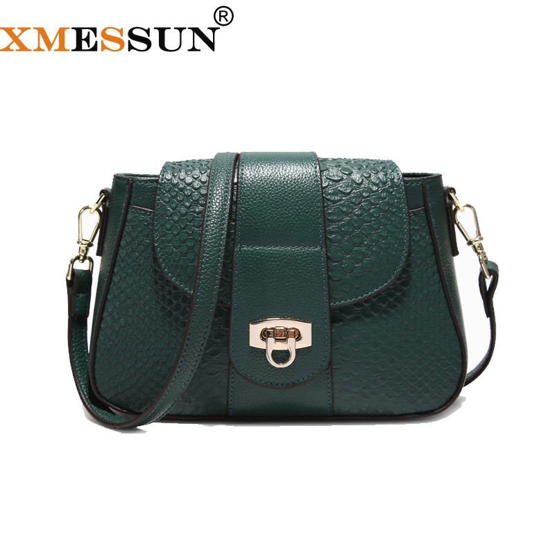 XMESSUN Women Messenger Bags Genuine Leather Crossbody Bag Ladies Designer Handbags Female Crocodile Shoulder Bag Purse