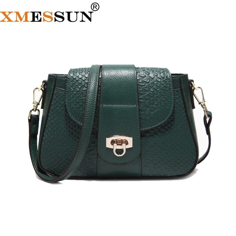 XMESSUN النساء حقيبة ساع حقيبة كروس من الجلد الطبيعي السيدات مصمم حقائب الإناث التمساح حقيبة كتف محفظة F134-في حقائب الكتف من حقائب وأمتعة على  مجموعة 1