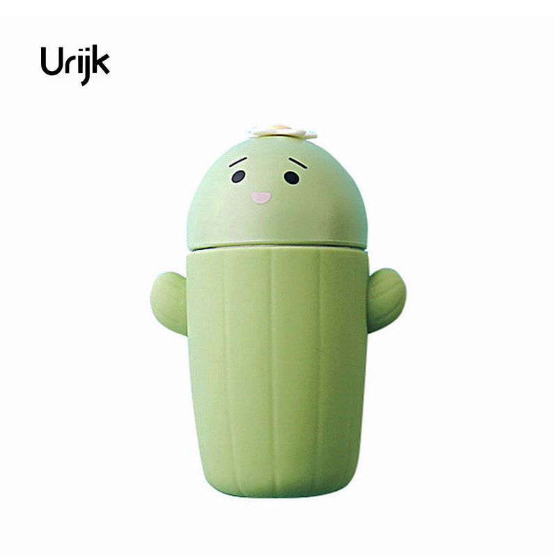Urijk Glass Watter Bottle Coffee Tea Cartoon Cactus Kids Student Kettles Travel Drinking Bottles for Water Christmas Gifts