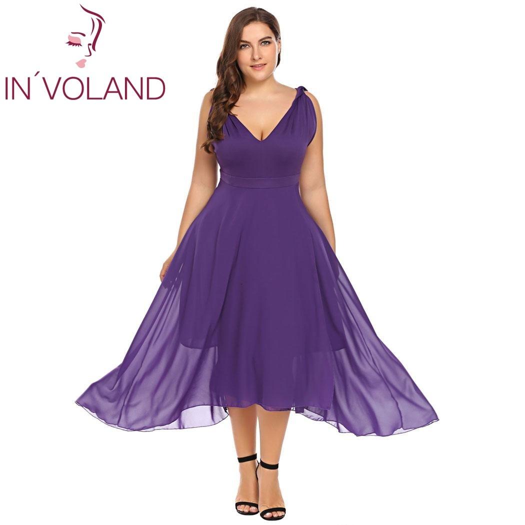 IN'VOLAND Big Size XL-5XL Women Party Chiffon Dress Double Sexy Deep V-Neck Sleeveless Large Swing Dresses Vestidos Plus Size
