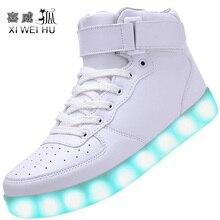 Xiweihu легкую мигающий светящиеся зарядки высокие унисекс взрослых кроссовки повседневная светодиодные