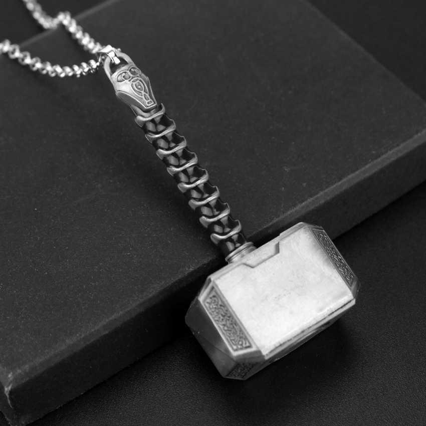 Moda biżuteria młot thora naszyjnik thor: mroczny świat urok długi łańcuch dla mężczyzn i kobiet w stylu Vintage naszyjnik sweter