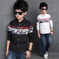 New Tommu Carino Brand Fashion Kid Shirts for Boys Patchwork Long Sleeve Camouflage Stitching 13 Years 14 Years Kids Blouse