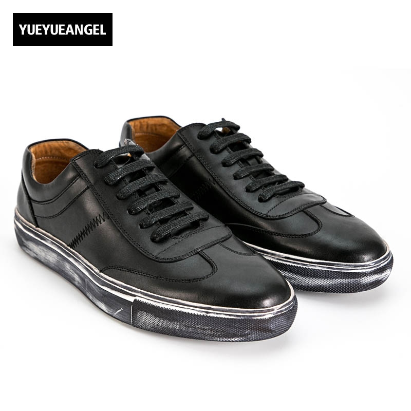 2018 New Fashion Mens Sewing Leather Stitching Genuine Leather Cow Casual Shoes Male Breathable Lace Up White Black Plus Size 2017 new spring imported leather men s shoes white eather shoes breathable sneaker fashion men casual shoes