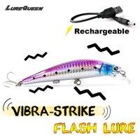 LUREQUEEN Minow Fishing Bait Useful Rechargeable Twitching Fishing Lures Bait USB Recharging Cords Precious Minnow Fishing