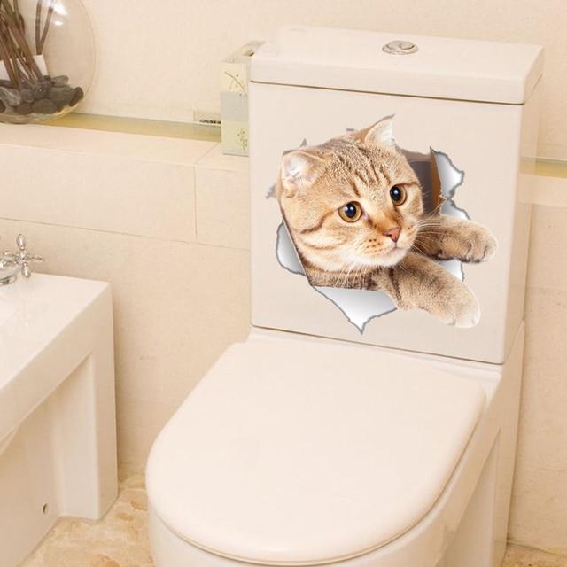 US $1.22 10% OFF Lustige Katze Wc Aufkleber 3D Poster Tier Wand Aufkleber  Für Kinder Zimmer Badezimmer Wand Dekoration Aufkleber WC Kunst Wohnkultur  ...