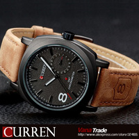 2014 HOT NEW FASHION QUARTZ HOUR DIAL CLOCK LEATHER STRAP WATCHES BUSSINESS MEN S SPORT MILITARY