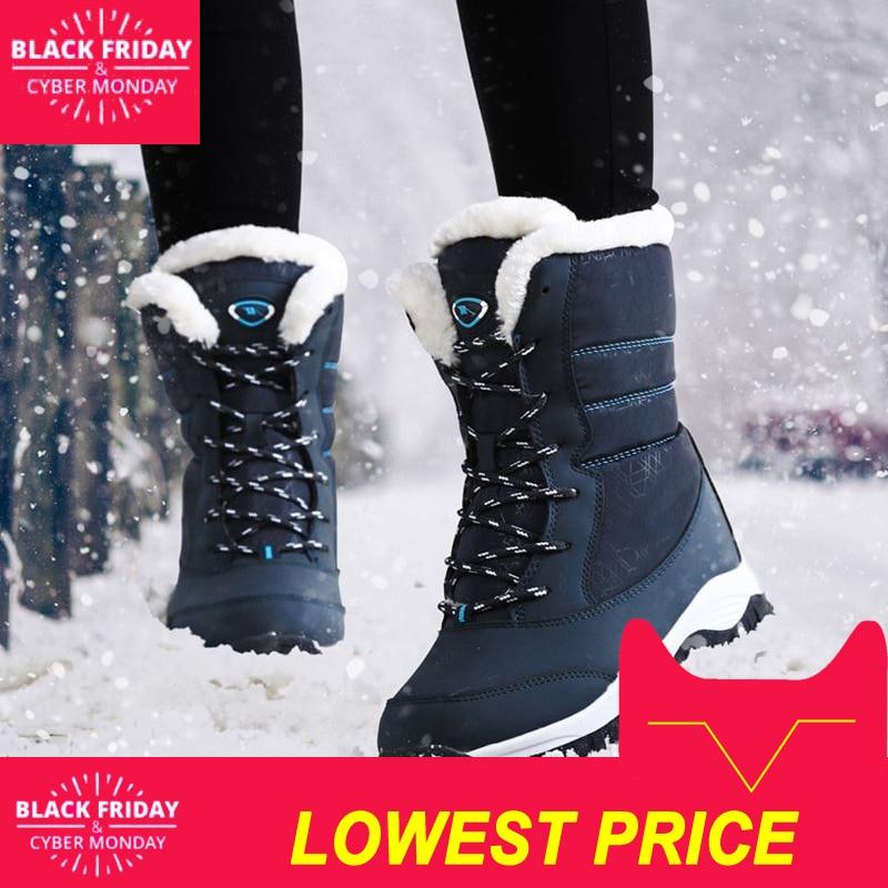 Mulheres botas não-deslizamento à prova d' água tornozelo inverno plataforma botas de neve mulheres sapatos de inverno com pele grossa botas mujer