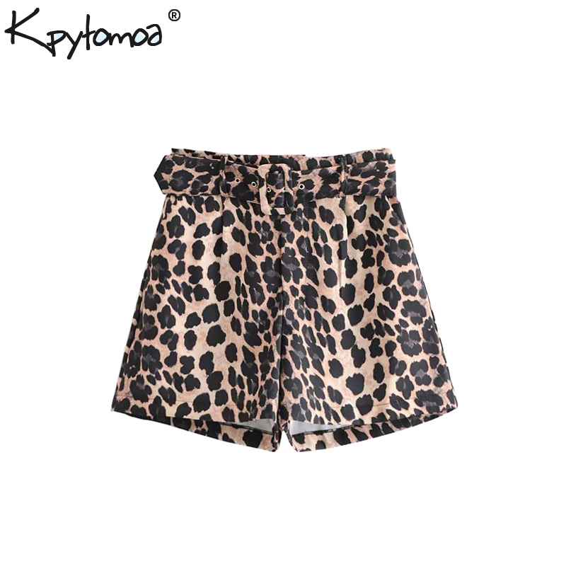 Vintage Leopard Pattern With Belt   Shorts   Women 2018 Fashion High Waist Pockets Zipper Fly Animal Print Sexy   Shorts   Pantalones