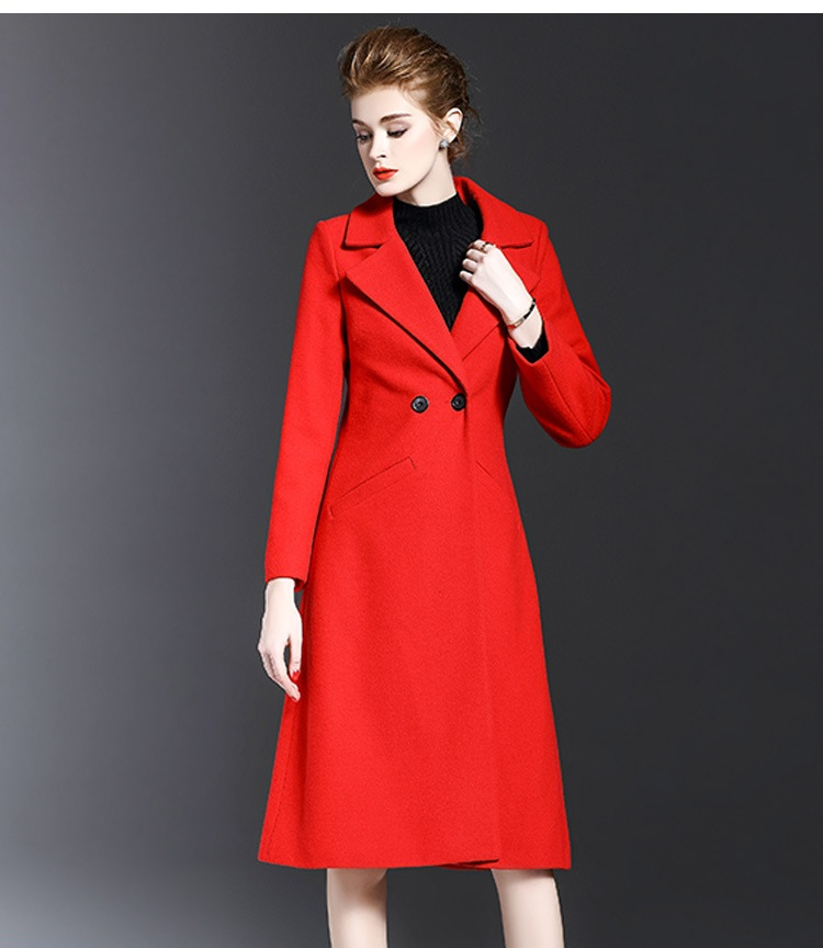 US $64.53 10% OFF|Fashion Casual Female Red Overcoat Women Wool Coat for Winter Ladies Outerwear Clothes Long Cashmere Coat Slim in Wool & Blends from