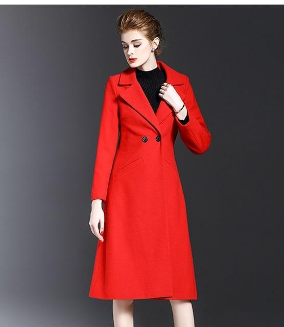 Abrigo Invierno Mujer Mujeres Rojo Casual Moda Para Lana Sobretodo 8zxFqxwaC