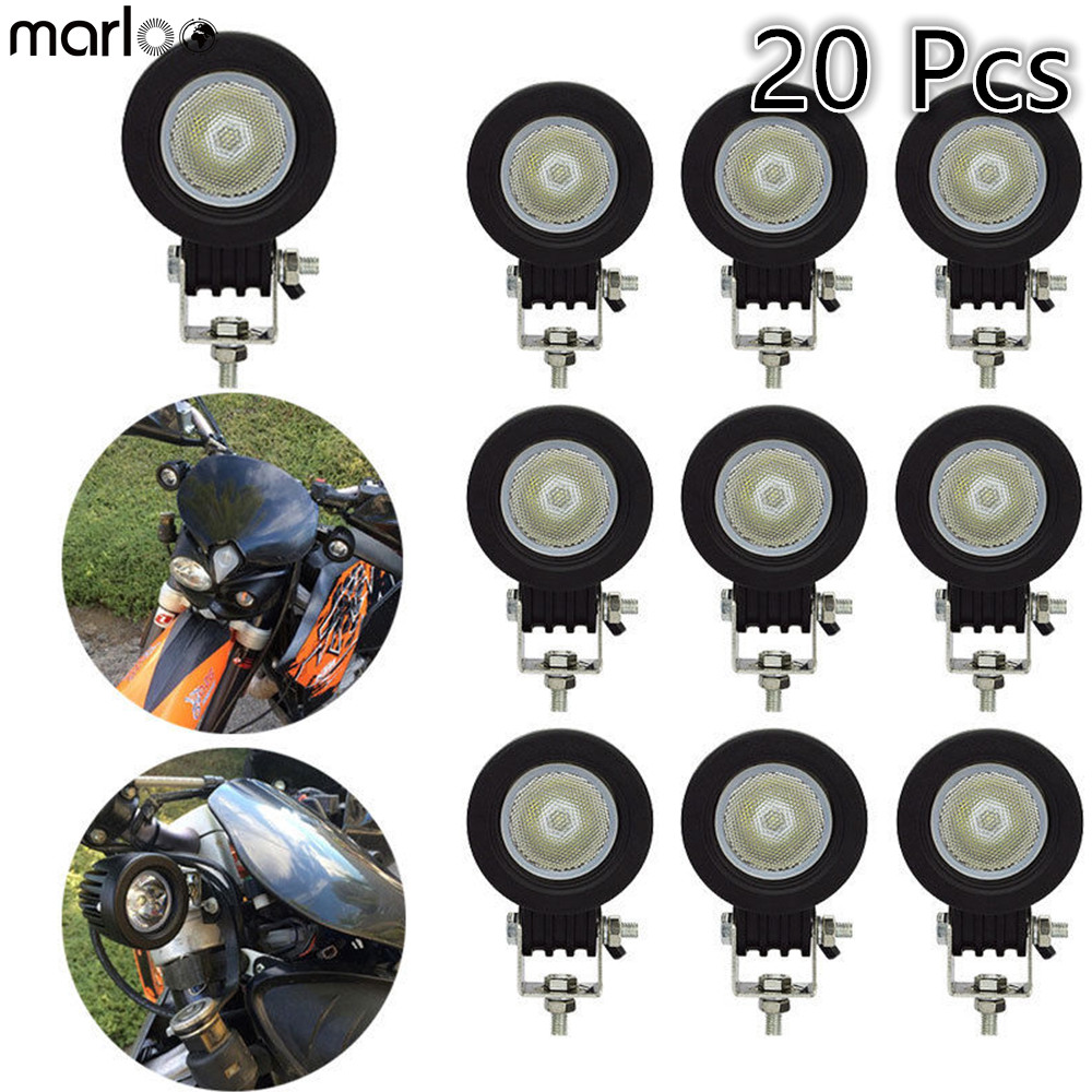 Marloo 20pcs 10W <font><b>LED</b></font> Work <font><b>Light</b></font> <font><b>Offroad</b></font> <font><b>Car</b></font> Auto Truck ATV Motorcycle Trailer 4WD Pickup 4X4 12V 24V Headlight Driving Fog Lamp image