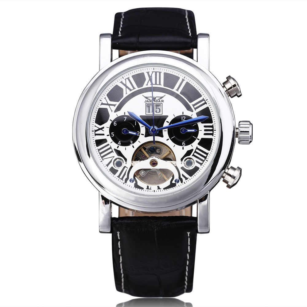 新ファッション JARAGAR 自動機械式メンズ腕時計スポーツトゥールビヨンスケルトンカレンダー本物の革ストラップ男性腕時計
