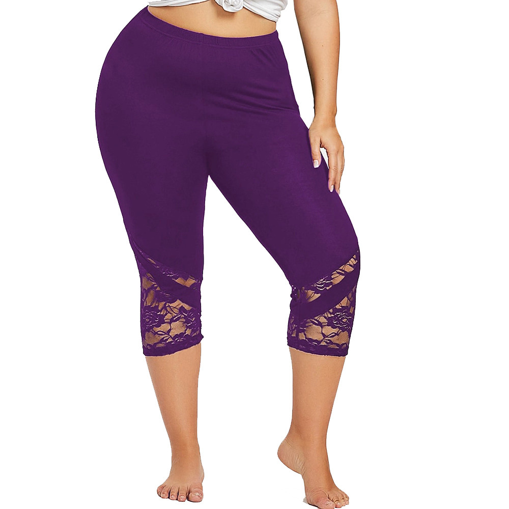 Plus Size 5XL   Leggings   Women Elastic Waist Solid Color Sexy Lace Hollow Out Fitness Sporting Stretched Trousers Feminina Leggins